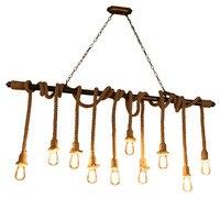 Loft Creative Industrial Vintage iron Rope Pendant Lights Lamp Edison Bulb lamp For Living Room bar decoration