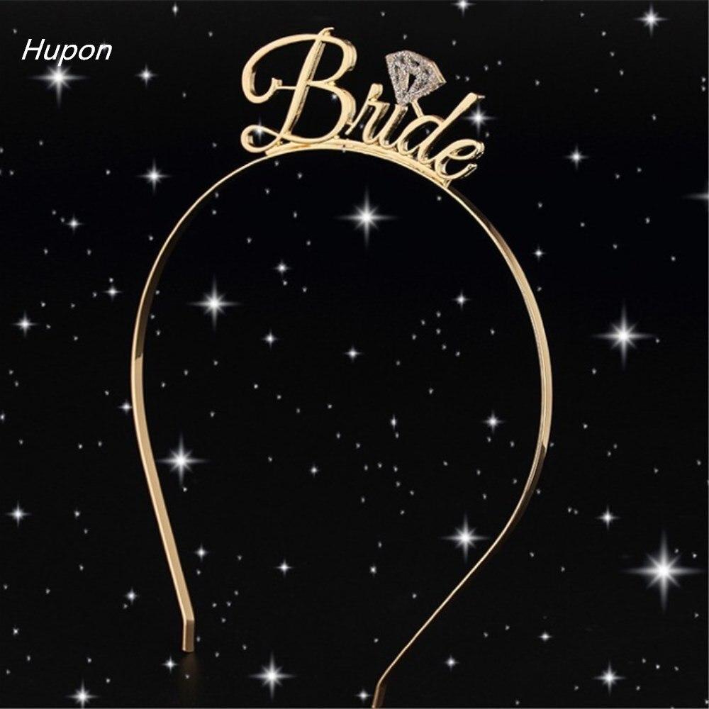 Wedding Hair Accessories Gold Bride to Be Set Bridesmaid Bridal Shower Hen Party Rhinestone Tiara Crown Bachelorette Party Favor