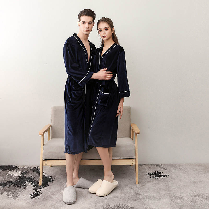 ROBE TOWELLING Housecoat Fleece Dressing-Gown Long-Sleeve Women Ladies Summer for Navy-Blue gown