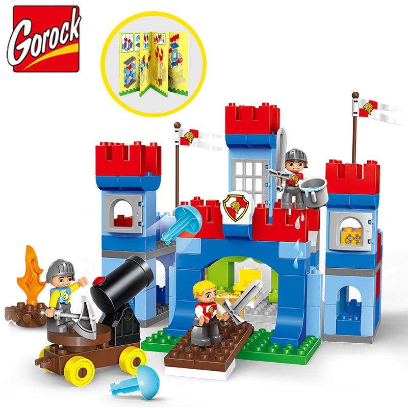 Gorock 138 ps/ensemble Empire château modèle grand bloc de construction Juguetes grandes particules armée soldat bricolage brique jouet Compatible Duploe