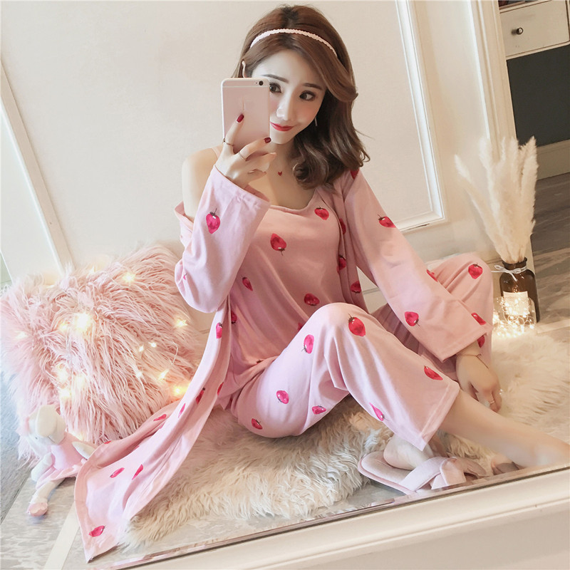 Women's 3 Pieces Pajamas Sets 2019 Spring And Summer Home Furnishing Wear Three Sets Pajamas Gown Shirts Wide Leg Pants  Homewea