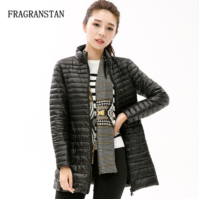 3ef23e16c78 90% White Duck Down Jacket Women Winter New Fashion Waterproof Light Warm  Soft Solid Color Long Coat Large Size Slim Parkas LY87