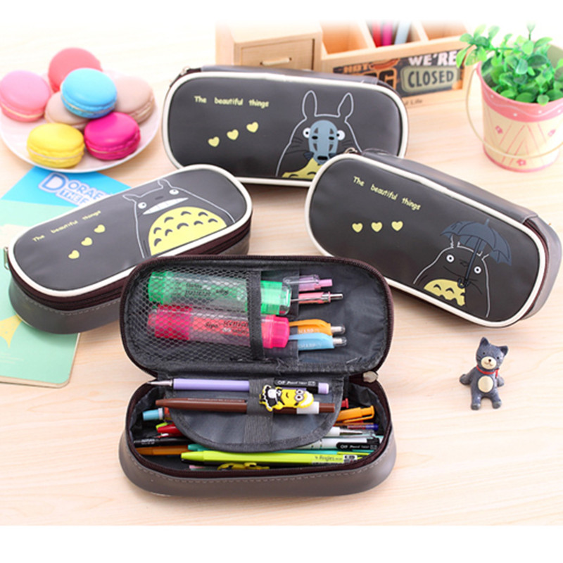 Kawaii Cartoon Totoro Leather Pencil Bag Big Capacity Zipper Cute Pencill Case Pen Boxes For Girls Boys Office School Supplies animal cat pencil case big capacity pen bag boxes student school supplies multifunction stationery creative cute student gifts