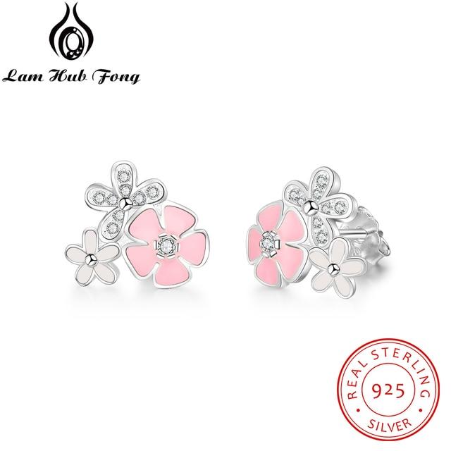 100% 925 Sterling Silver Cute Style Carnation Stud Earrings For Women Fine Jewel