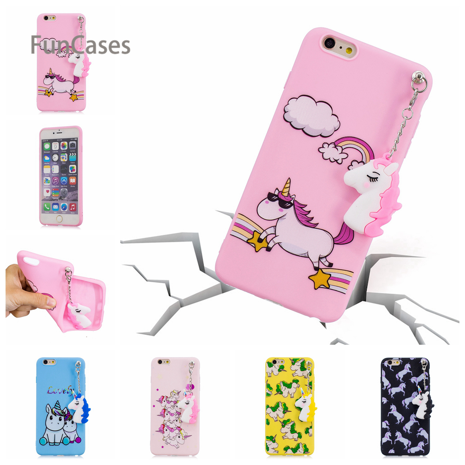 Cute Unicorn Phone Case sFor Coque iPhone 6 Soft Silicone Back Cover Celular Quotes Messages Holsters Clips Case For iPhone 6S ...