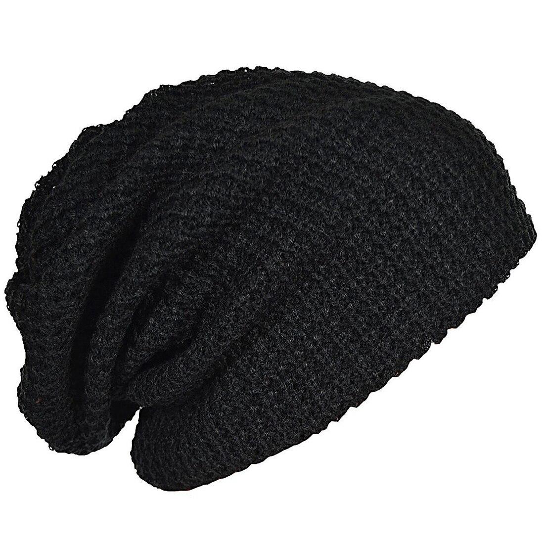 Mens Slouchy Long Beanie Knit Cap for Summer Winter Oversize black