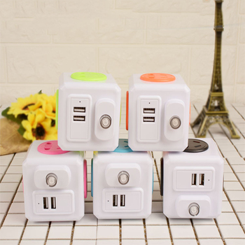 New Smart Home PowerCube Socket EU Plug 4 Outlets 2 USB Ports Adapter Power Strip Extension Adapter With independent switch image