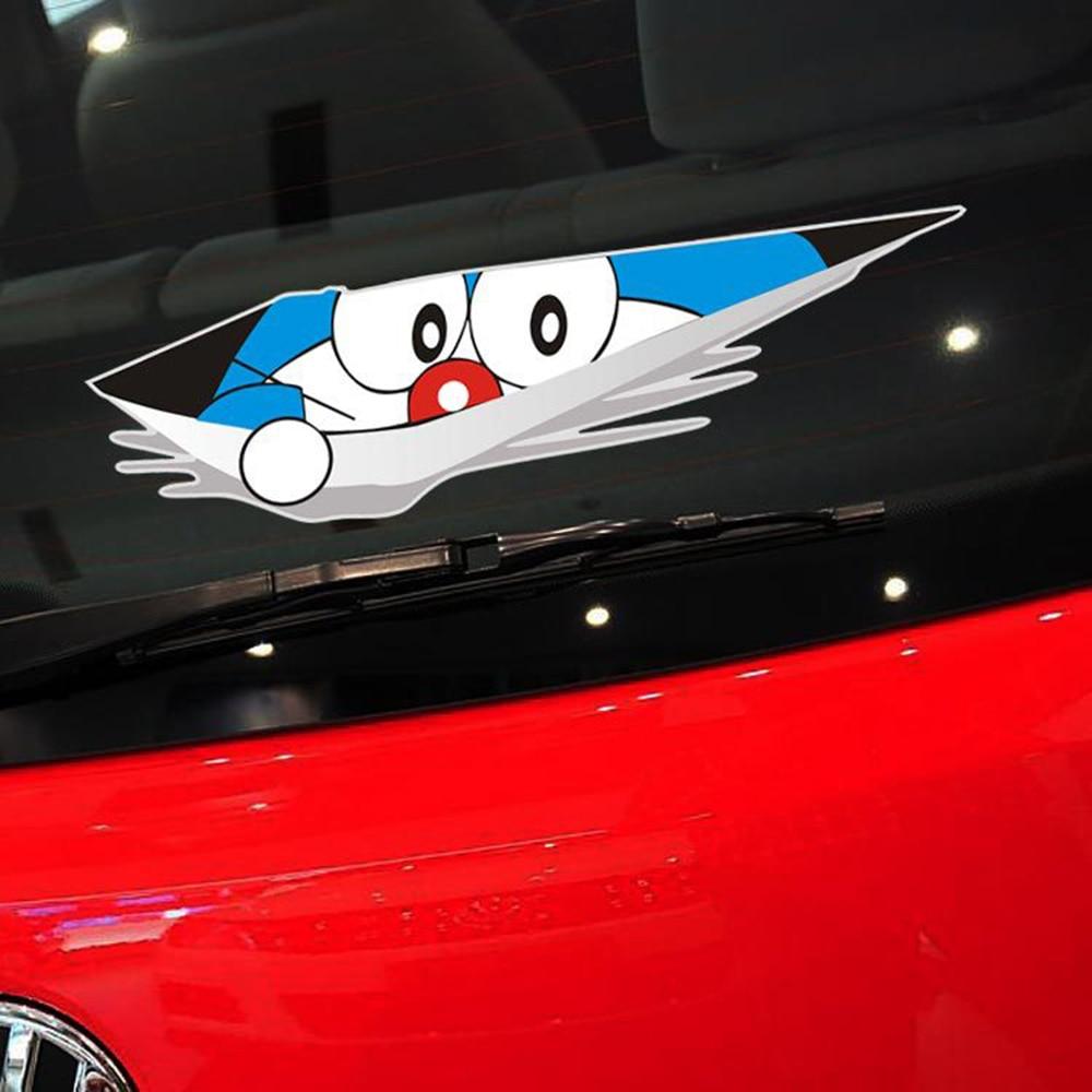 Honda fit car sticker design - Car Styling Funny Car Sticker Cartoon Decal Doraemon Voyeur For Vw Polo Golf 5 7 Kia