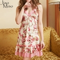 Jiao Miao Sexy Women Nightwear Mini Nightgowns Tempatation Deep V Straps Skirts Summer Style Silk Sleepwear Sleepskirt