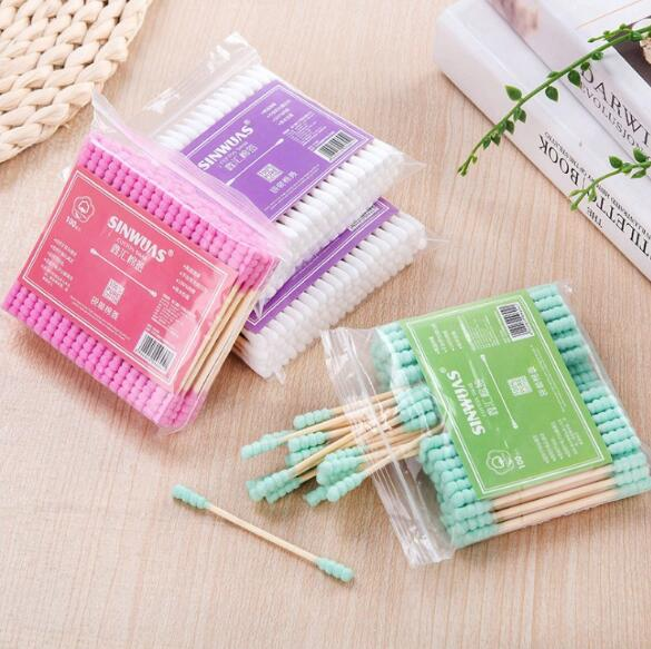 100PCS Double Head Cotton Swab Women Makeup Cotton Buds Tip For Medical Wood Sticks Nose Ears Cleaning  Cotton Buds Makeup Tool Pakistan
