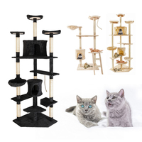 60/80 Inch Cat Tree High Stability Cat Climber With Ladder Cat Furniture Pet Scratching Post With Hammock Cat Toy