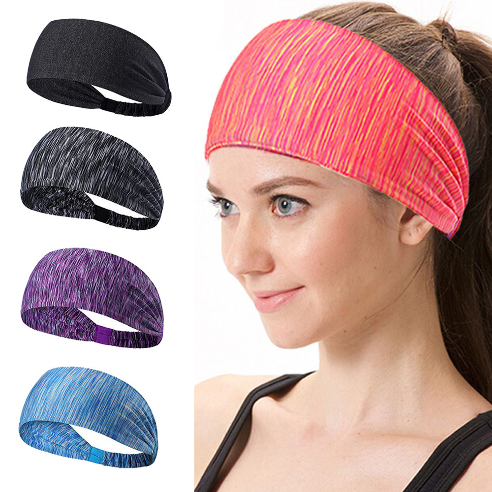USPS Womens Yoga Hair Band sports Headband Women men Cotton Knotted Turban Head Warp Hair Band Wide Elastic Yoga Sport Headband