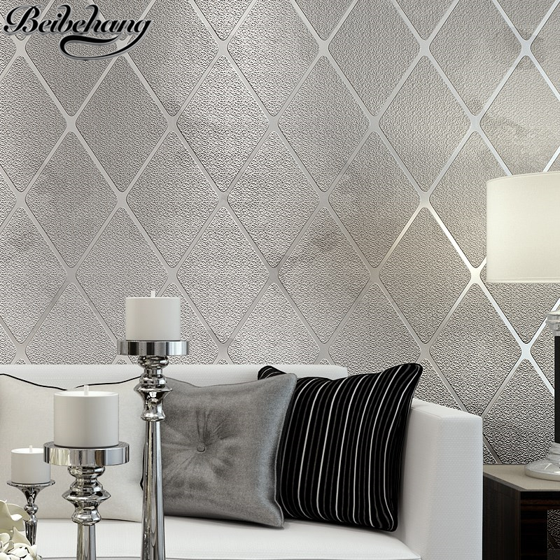 beibehang Modern simple bedroom wallpaper stereo living room background wall relief wallpaper non woven rhombus striped lattice