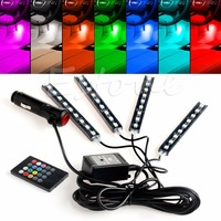 1PC Wireless Remote Music Voice RGB Control Car Truck 9 LED Neon Interior Light Lamp LED