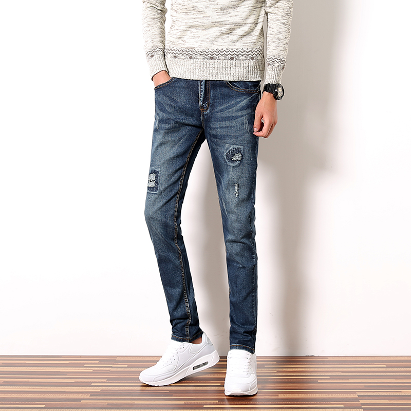 patch ripped fashion skinny jeans men trend slim fit denim mens casual pants man 2017 autumn. Black Bedroom Furniture Sets. Home Design Ideas