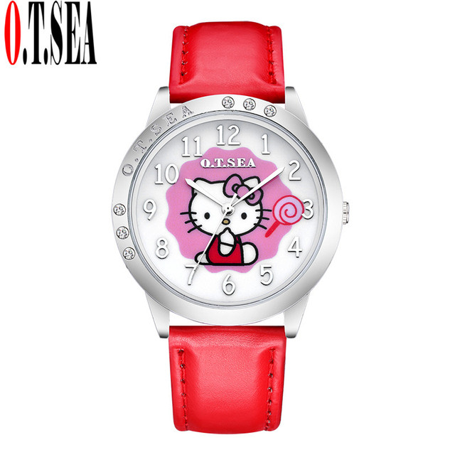Hot Sales O.T.SEA Brand Lovely Candy Leather Hello Kitty Watch Children Girls Wo