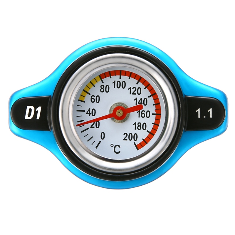 Universal Fit For Car 1.1 Bar Steel Thermostatic Thermo Radiator Cap 16 PSI Pressure Rating Temperature Gauge Radiator Cover