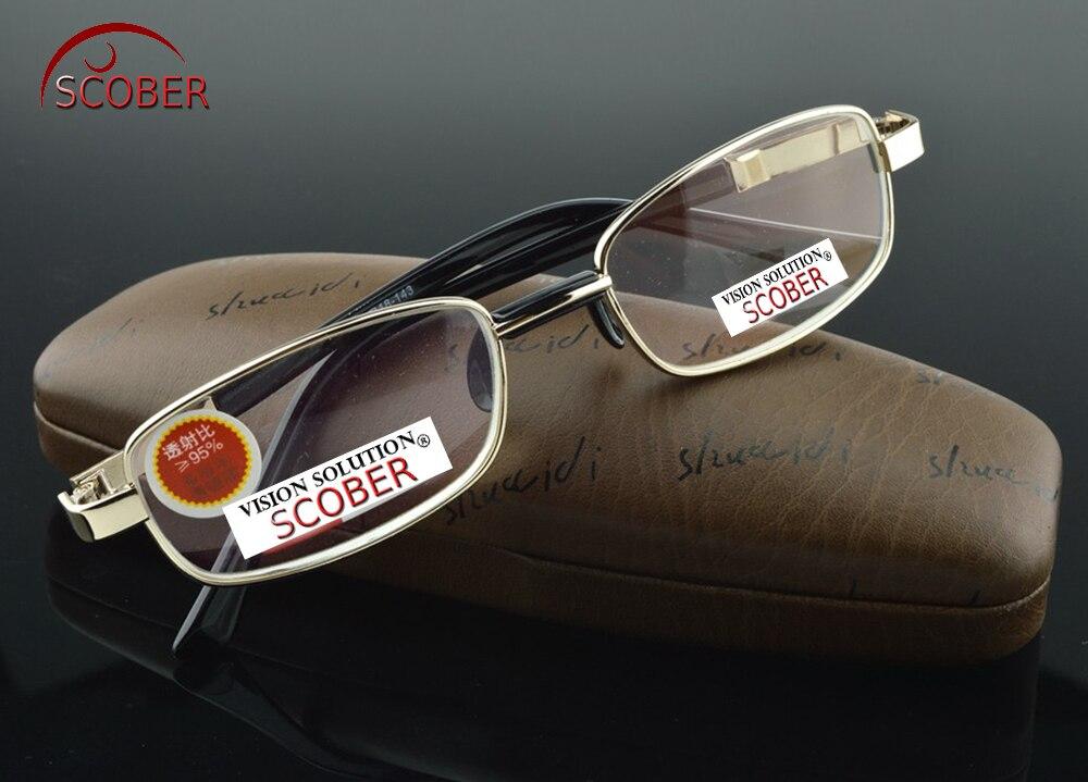 SCOBER = cristal Natural lente multi-revestida lleno-borde níquel Aleación de lujo hombres mujeres gafas de lectura 0,75 + 1 + 1,25 + 1,5 + 1,75 a + 4