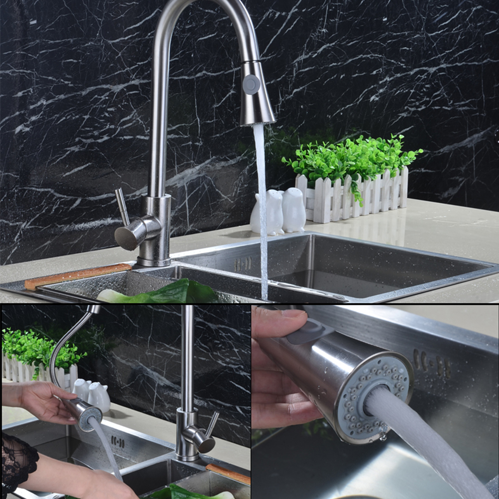Brushed Brass Kitchen Faucet Silver Finish Solid Pull Out Kitchen Mixers Tap 360 Degree Rotation Cold Hot Water Mixer Tap gizero free shipping orange spring kitchen faucet brushed nickle finish single handle hot cold water crane mixing tap gi2069