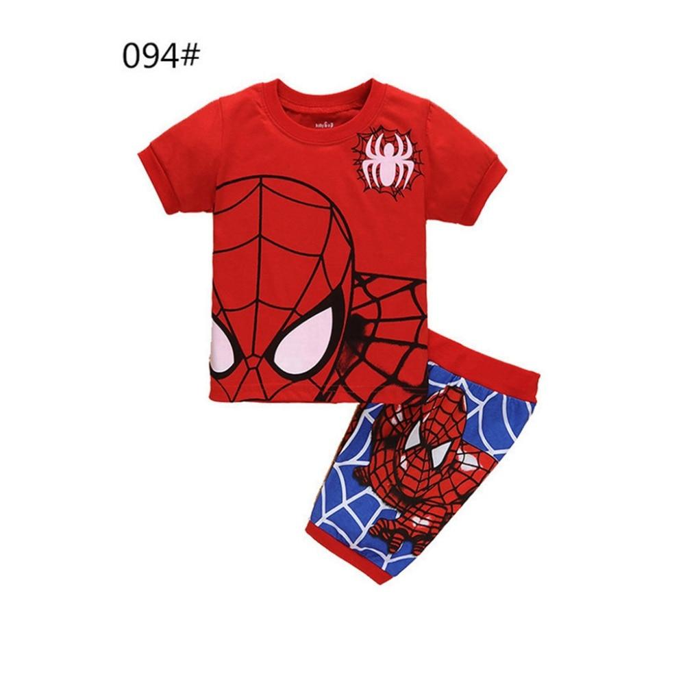 CostumeBuy 全体の販売スーパーヒーロー子供パジャマの少年少女の綿の Tシャツショーツスポーツスーツスパイダー印刷ホームウェアスーツ L920