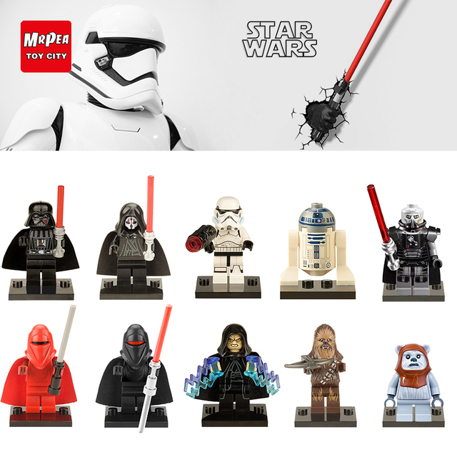 Звездные войны Legoing строительные блоки Luke Leia Han Solo Анакин Дарт Вейдер йода Джар Кирпичи игрушки для детей красные фигурки YY30