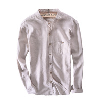 Cotton Linen Casual Slim Striped Long Sleeve Mens Dress Shirts Brand Clothing