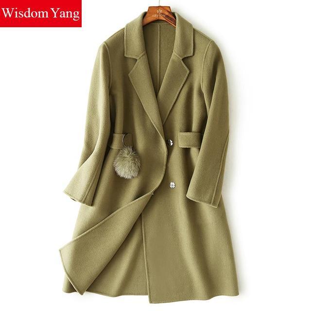 Wisdom Yang Winter Coats Turndown Women s Sheep Wool Coat Green Black Warm  Trench Long Sleeve Pom Pom Woolen Overcoats Jackets 319631f52