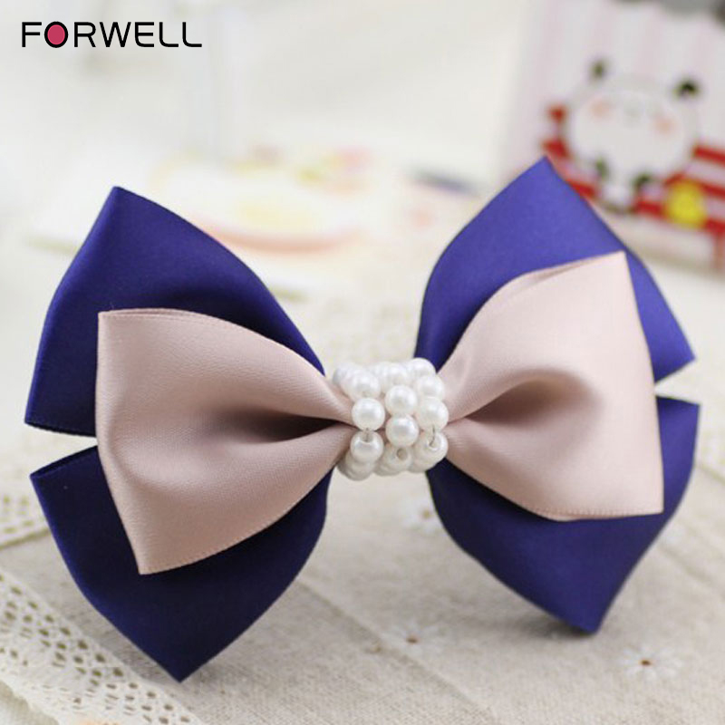 Forwell 2016 new arrival hairpin hair accessories manual elegant beaded barrettes compound bowknot hair clips for women jewelry