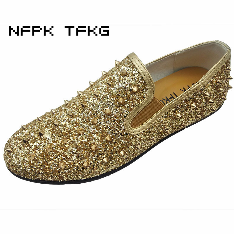 European fashion men personality stage party dress glitter cow leather shoes slip-on driving flats oxford shoe pointed toe male glitter pu rhinestone slip on pointed toe womens flats