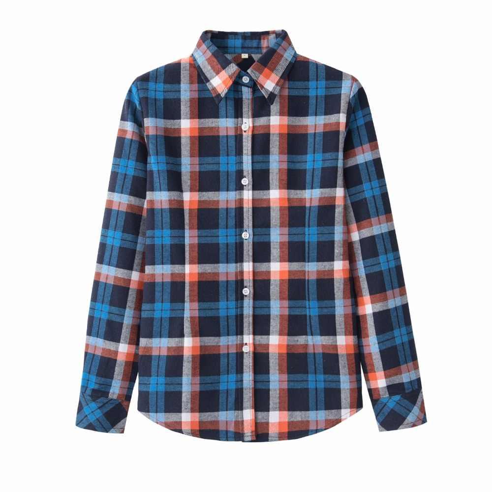 26b36d37165c13 ... 2018 Brand New Women's Plaid Shirts Checked Casual Cotton Shirts  British New Designer Style Female Long ...