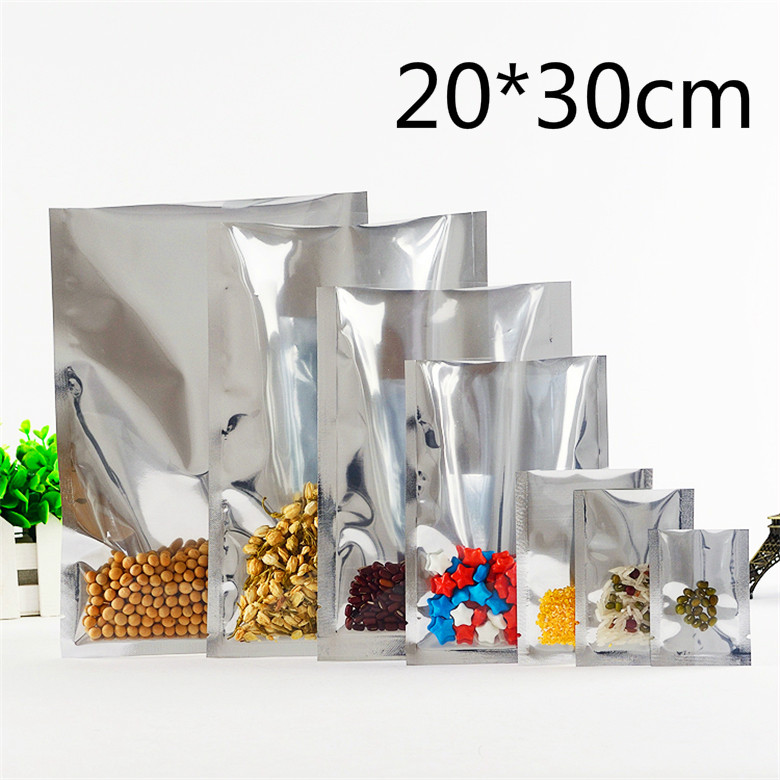 Wholesale 20*30cm Open Top Vacuum Package Bag Heat Sealable Silver Aluminum Foil Clear Plastic Party Pack Pouch For Coffee Food