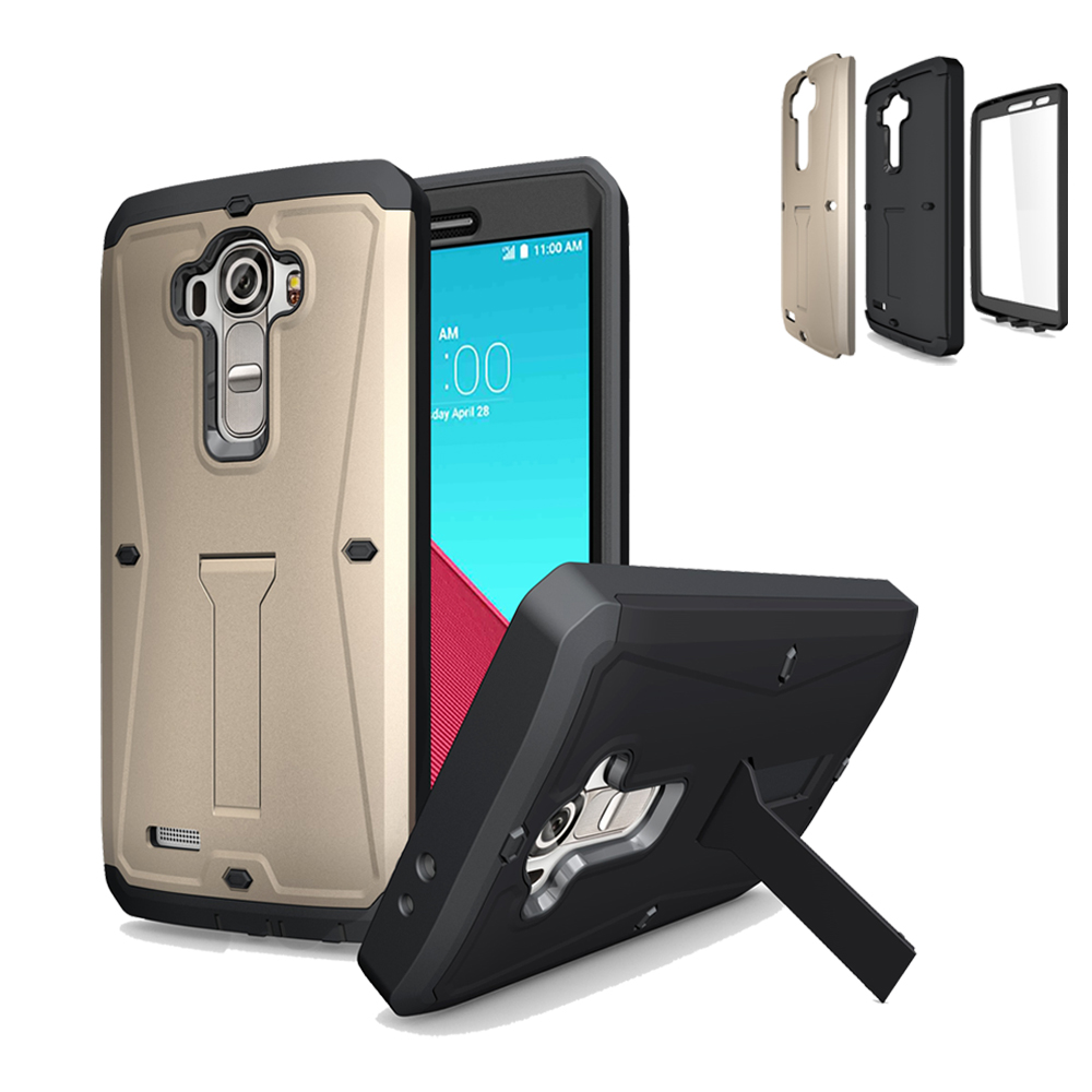 For LG G4 H815/H810/F500 Armored Tank Case Triple Layer PC Back Cover TPU Frame Stand Screen Protector Combo Bag Proof Shell