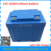 Free customs fee 12Volt 3S Lithium battery 12V with waterproof case 12V 150AH Battery tuse 3.7V 5AH 26650 cell with 10A Charger