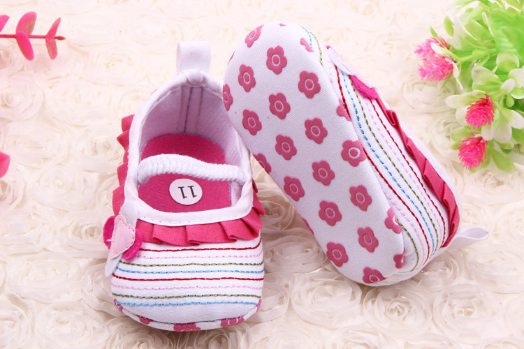 Lovely Stripe Floral Rufle Baby Girls Summer Sping First Shoes Elastic Band Non Slip Baby Prewalker Soft Sole Baby Moccasins