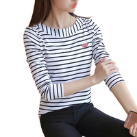 T Shirt Women Striped Tops 2016 Autumn Fashion Womens Long Sleeve Cotton Tops Black White T