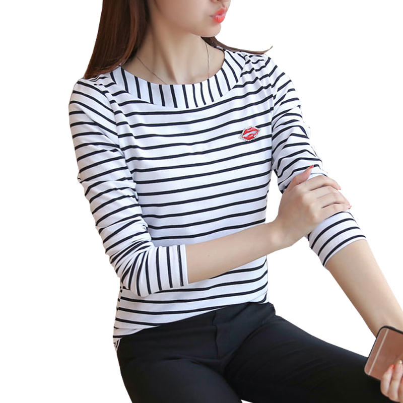 T shirt women striped tops 2017 autumn fashion womens long for Black and white striped long sleeve shirt women