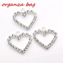 Hot ! 10Pcs Silver Plate Clear Rhinestone Heart Shaped Charm 22x24mm za460