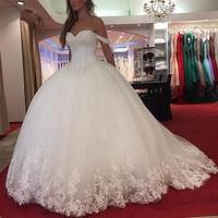 Vestido De Noiva 2019 Lace Wedding Dress Long Ball Gown Sweetheart Appliques Saudi Arabic Wedding Gown Bridal Dresses Trouwjurk