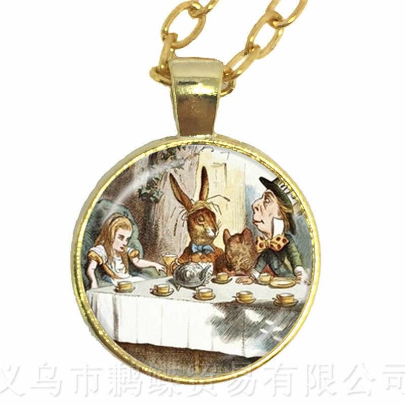 Алиса в стране чудес ожерелье безумный Чай Вечерние Mad Hatter Мартовский Заяц Сказочный кулон Hatter Печать Стеклянный свитер цепь ювелирные изделия
