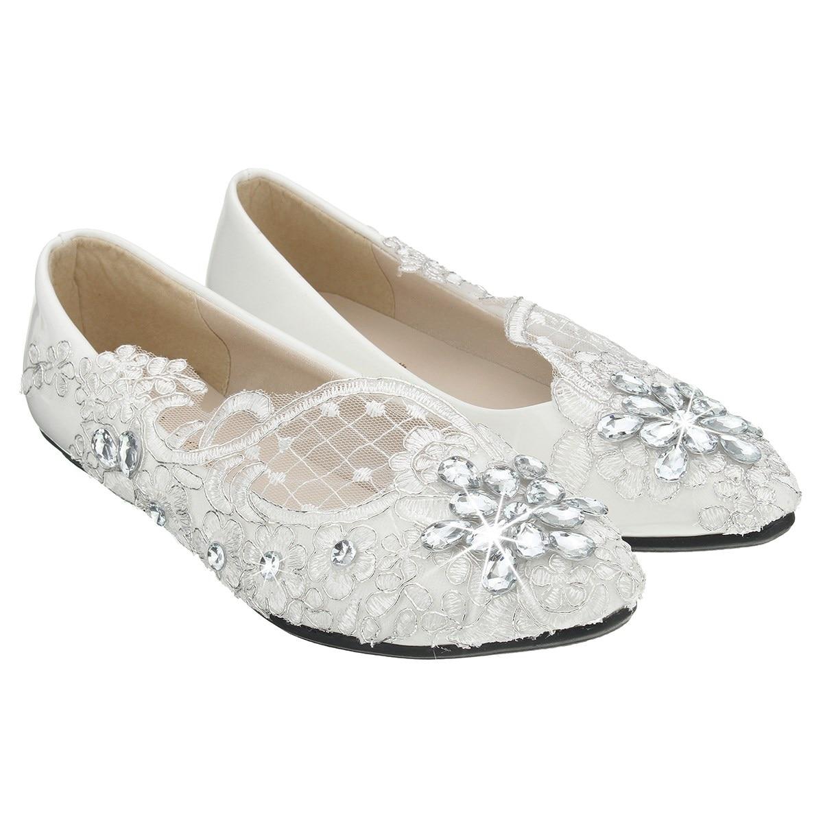 ladies lace bridal crystal wedding shoes women flat heel pure white