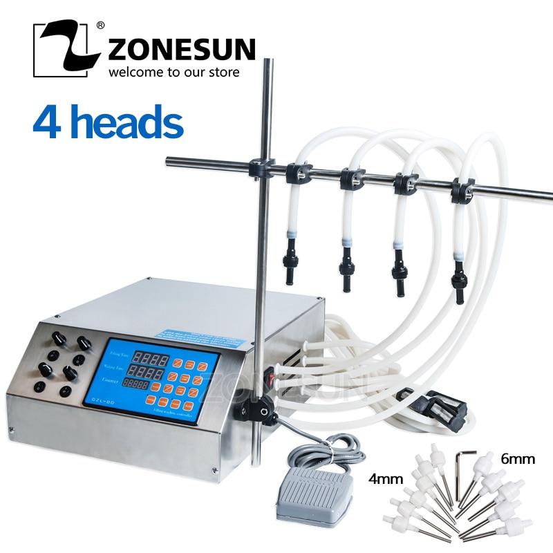 ZONESUN 4 Nozzles Bottle Water Filler Semi automatic Liquid Vial Desk top Filling Machine For Juice