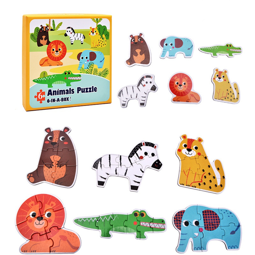 Baby Wooden Toys Puzzles Jigsaw puzzle Animal /Traffic /Ocean fish/ 6pcs in a box Educat ...