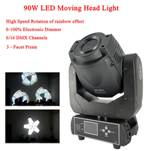 Disco Light Stage Lights 90W LED Spot Moving Head Light 3-Facet Prism High Speed Rotation of Rainbow Effect DJ Sound Party Light