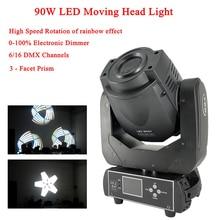 цена на Disco Light Stage Lights 90W LED Spot Moving Head Light 3-Facet Prism High Speed Rotation of Rainbow Effect DJ Sound Party Light