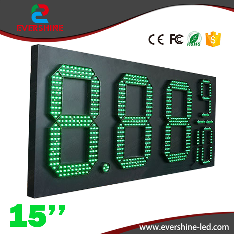 15'' 8889/10 Front Access green gas petrol price display/led oil gas station sign/led fuel price sig changer displays board hd high quality led gas price display sign outdoor led billboard green color 12 outdoor led display screen