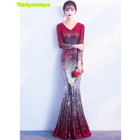 V Neck Sequined Party Gown Formal Long Evening Dresses Vestido De Festa Longo Robe De Soiree