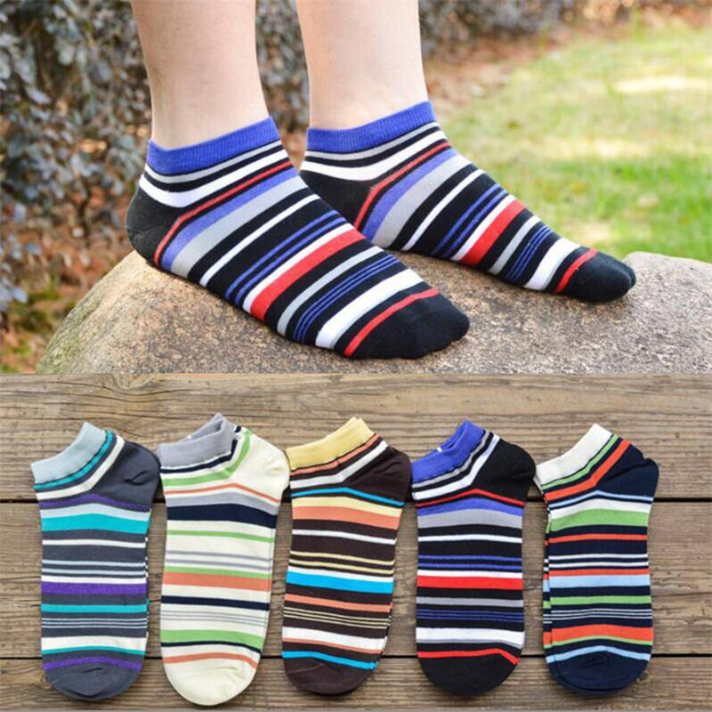 High Quality Men's Cotton Socks Spring Summer And Autumn Colorful Striped Socks Men And Male Fashion Short Sock