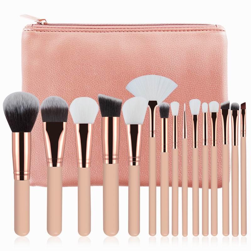 15 pcs Pincéis de Maquiagem Definir Rosa/Marrom Em Pó Fundação Eyeshadow Sobrancelha Pincel de Lábios Cosméticos Make Up Tools Kit com Bolsa de couro