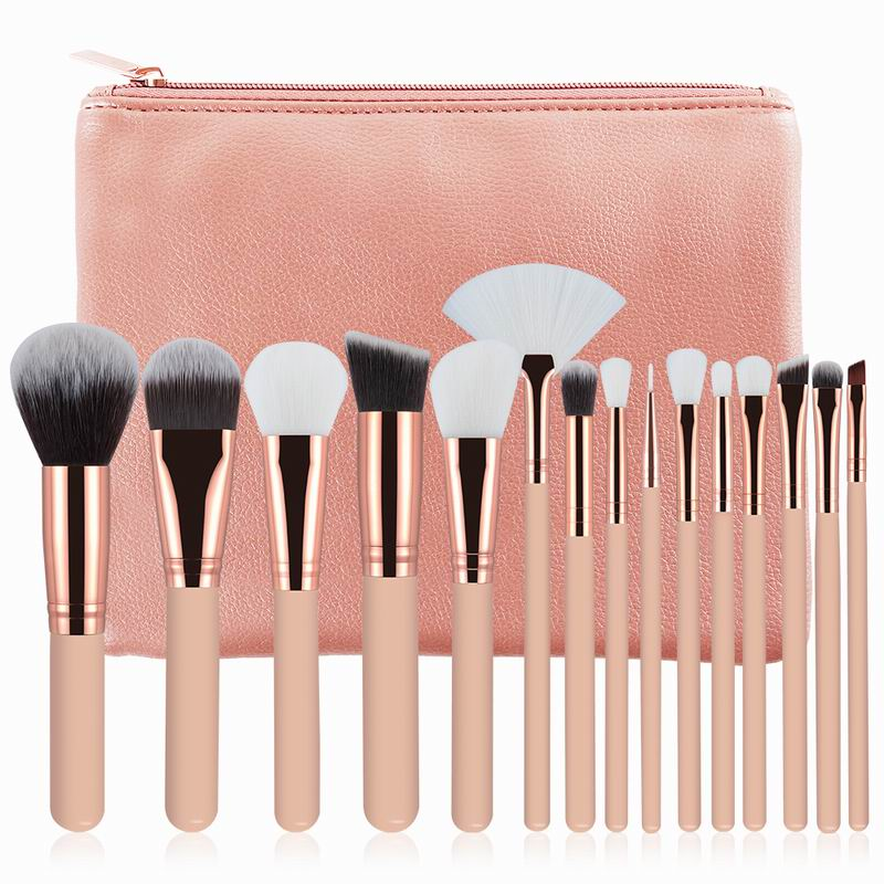 15 pz Spazzole di Trucco Rosa/Marrone Fondamento della Polvere Dell'ombretto del Sopracciglio Del Labbro Pennello Cosmetici Make Up Tools Kit con Sacchetto di cuoio