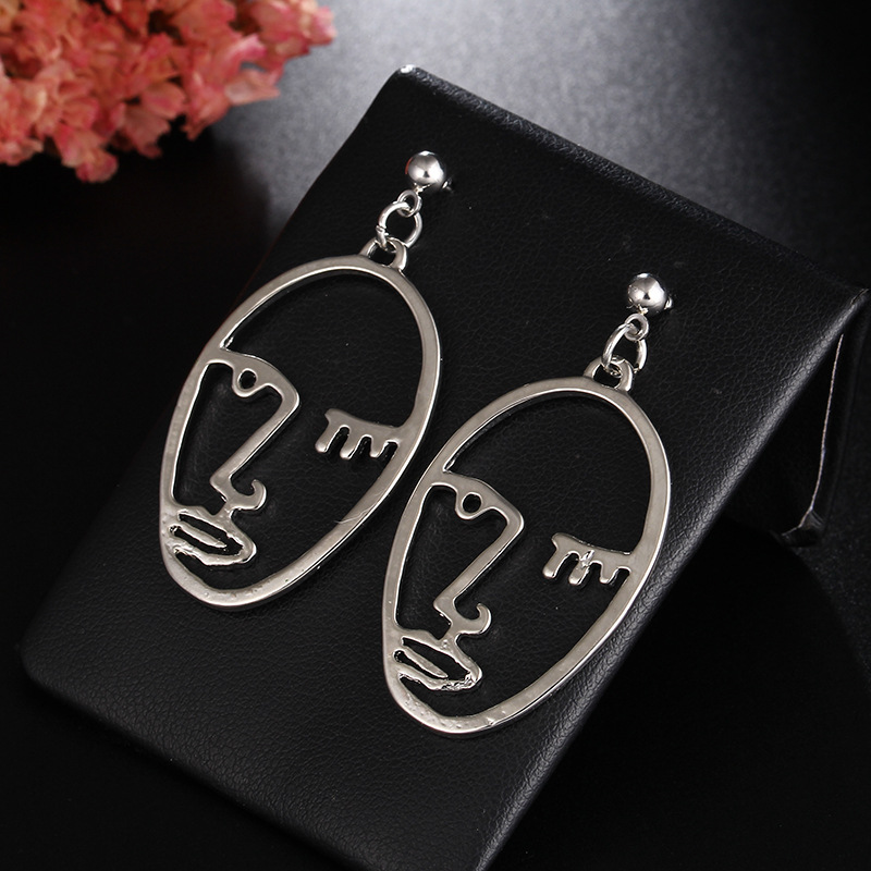 Girls Choice Earrings Retro Metal Alloy Fashion Abstract Hollow Out Dangle Earrings New earring Face 2019 New Hot05